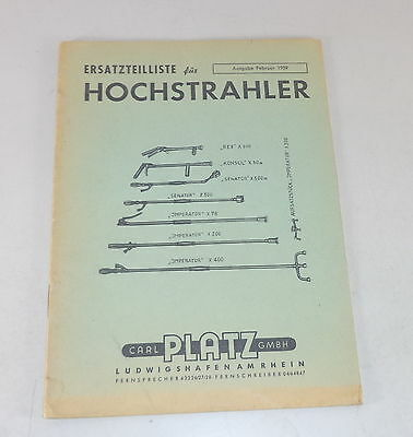 Industrial Beautiful Parts Catalog Space Hochstrahler Diverse Models Stand 02/1959 Special Buy