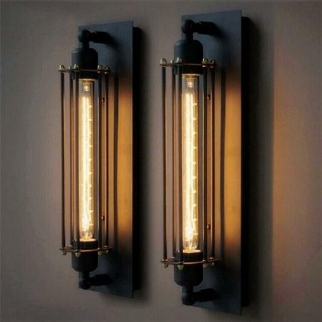 T30 Rustic Long Black Wall Sconce Plate Lamp Retro Vintage Lighting