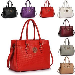 Image Is Loading Embossed Women Handbags Designer Patent Leatherette Tote Las