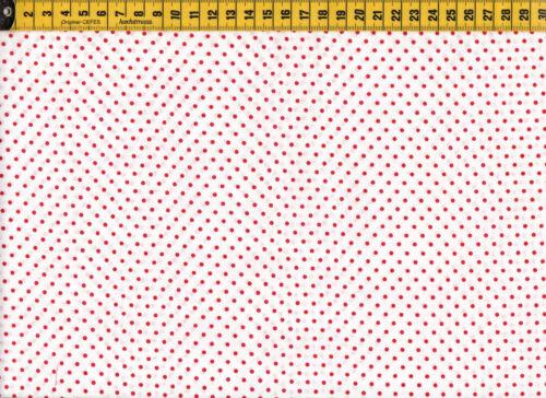 Baumwollstoff   Minidots rot auf weiß Stoff  0,5m