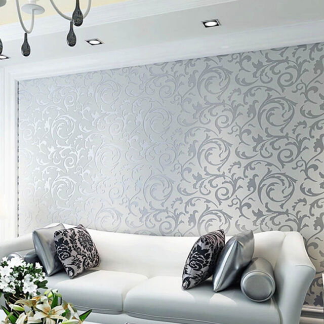 Silver Gray 3d Textured Patterned Wallpaper Modern Living Room Bedroom Decor