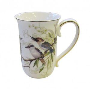 Australian-Bird-Series-034-Kookaburra-034-Gold-Edged-Fine-China-Mug-Boxed