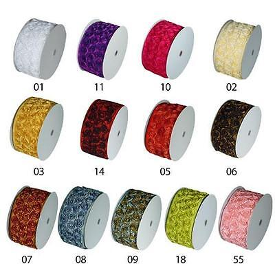 "4"" Rosette Wired Ribbon 1 yrd 13 colors to choose from"