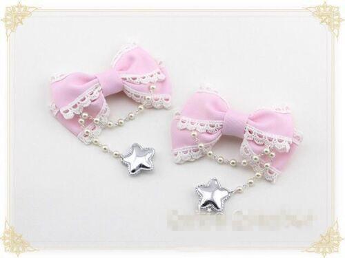 1pr Lolita Bowknot Hairpin Bead Chain Star Cute  Kawaii Hair Clip Cosplay Props