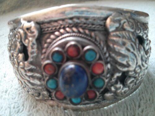 7 Antique Tibetan Silver Dragons Turquoise Bangle, Lady Birthday Christmas Gift