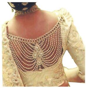 Designer-White-pearl-Gold-Plated-Saree-Sari-Blouse-back-Brooch-Broch-pin