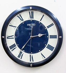 seiko blue metallic case wall clock w quiet sweep and