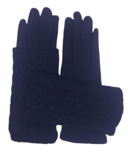 Women Christmas Winter Warm Knit 2in1 Wrist Gloves Fingerless Mittens Pearls UK