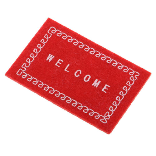 1//12 /'/'Welcome/'/' Floor Covering Rugs Door Mat for Dollhouse Mini Decor Red