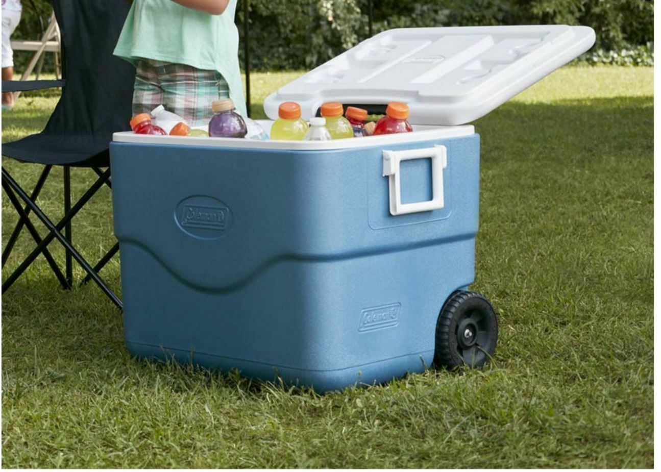 Coleman Xtreme 75-Quart Wheeled Ice Plastic Chest Cooler Ice Wheeled Chest Outdoor Yard Camp 8d7492