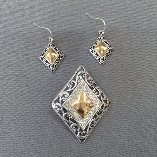 Unique Trendy Silver and Gold Finish Diamond Shape Pendant Earrings Set