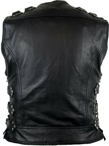 Biker Leather Vest Cowl Leather Cowl Rocker Vest Motorcycle Jacket Chopper Custom Vest