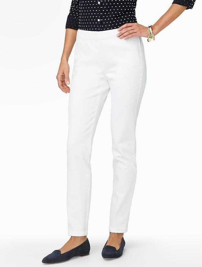 Talbots Pants  20W White Denim Straight Leg Ankle Length side zipper NWT  89