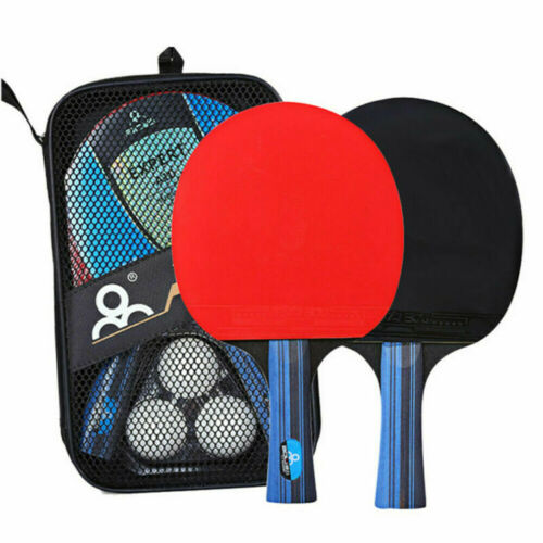 2pcs Professional Table Tennis Racket Paddle Ping Pong Bat 3 Balls Bag Set ❤