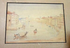 antique-mini-original-Italian-Venice-watercolor-nautical-gondola-boat-painting