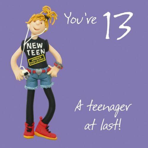 Femelle 13th Carte d/'anniversaire-adolescent NEW TEEN One forfaitaire ou deux qualité neuf