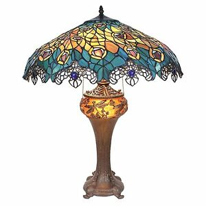 Art Nouveau Peacock Tiffany Style Stained Glass Table Lamp