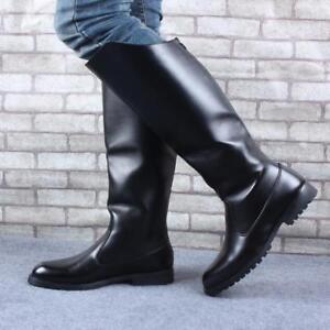 Rug Knie Combat rijlaarzen Militaire Hoge Heren lederen schoenen Rits 0X8OPNnwk