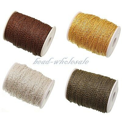 1m/5m/100m silver / gold plated cable open link iron metal chain findings