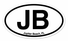 "JB Jupiter Beach FL Florida Oval car window bumper sticker decal 5"" x 3"""