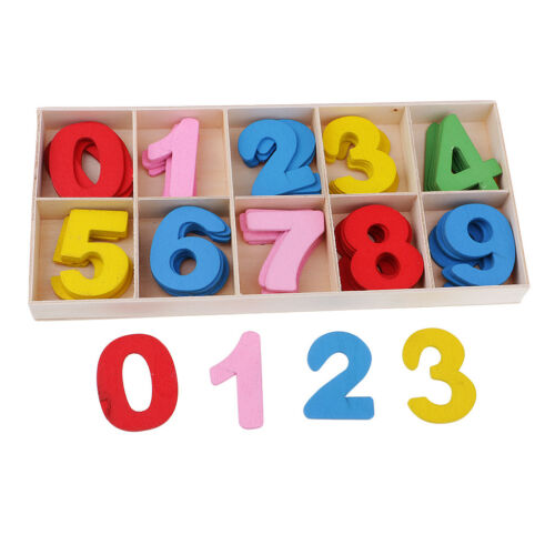 60pcs Colorful Wooden Shapes 0-9 Arabic Number Embellishments for Kids Craft