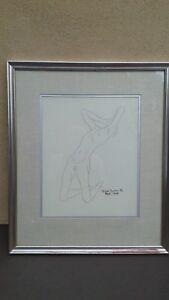 Raphael-Navarro-Barajas-1965-Original-Ink-Drawing-034-Tormented-Man-034-Mexico