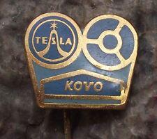 Tesla Kovo Prelouc Magnetic Tape Recording Machine Reels Spools Pin Badge