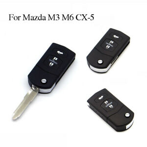 Uncut-Blade-Flip-Keyless-Entry-Remote-Folding-Key-Fob-Shell-For-Mazda-M3-M6-CX-5