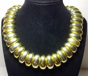 Vintage-80s-Gold-Acrylic-Bead-Necklace