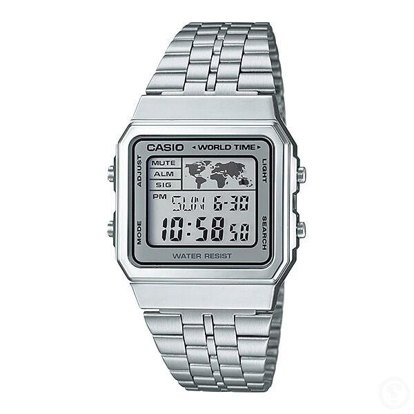 CASIO Vintage Retro Series World Time Silver Classic Watch A500WA-7DF