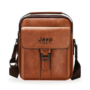 b4f1427772 Men Messenger Bag JEEP Man Leather Shoulder Bag Handbag Crossbody ...
