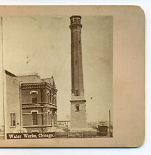 c1876 Stereoview Chicago West Side Water Works, Pumping Station, Ashland Ave