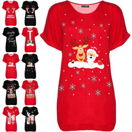 Womens Naughty Girls Get More Presents Xmas Baggy Oversized Ladies T Shirt Top