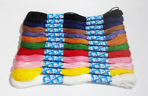 12-X-Coloured-Embroidery-Thread-Cotton-Cross-Stitch-Braiding-Craft-Sewing-UK