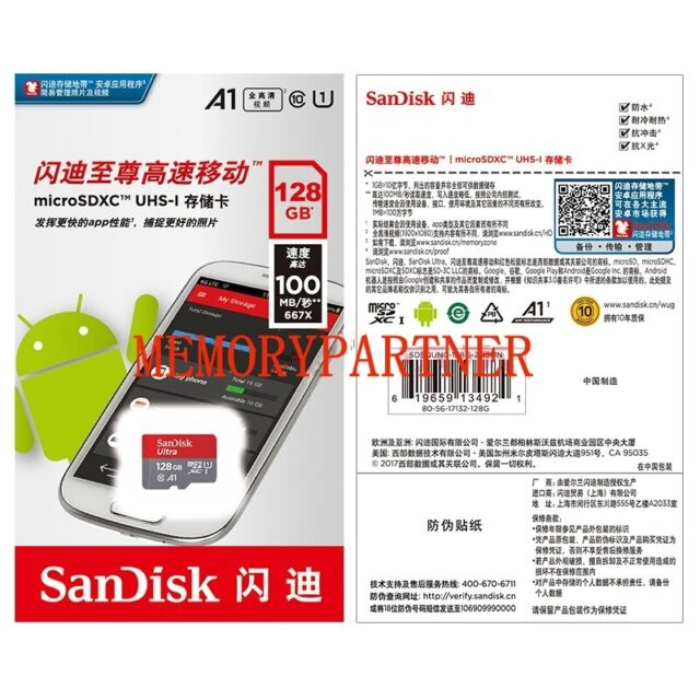 SANDISK 128gb Ultra Micro SDXC UHS-I tarjeta 100mb / s Sd Class10 sdsdqu-128g