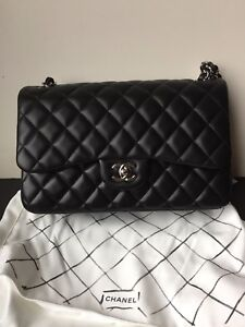871c16438fe0a1 Image is loading NEW-AUTHENTIC-CHANEL-BLACK-JUMBO-LAMBSKIN-SILVER-CLASSIC-