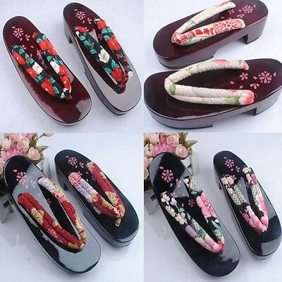 High-heeled Cosplay Japanese Women's Half Moon Type Yukata kimono Geta Sandal