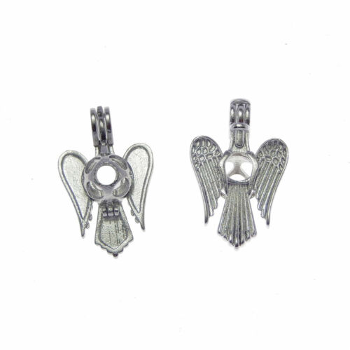 Pack of 4 Silver Tone Metal Angel Wing Design Pearl Cage Pendants Charms 28x17mm