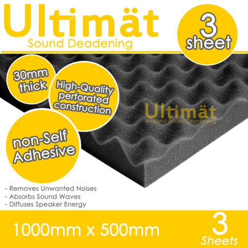 3x Acoustic Egg Foam Sound Proofing Damping Deadening Mat Sheet 1000x500x30mm