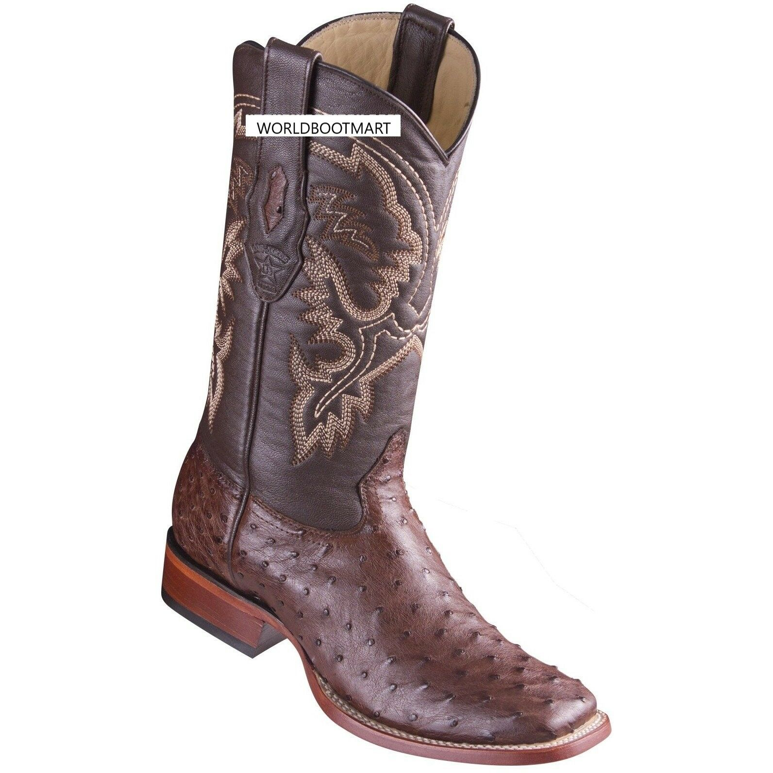 Los Altos Genuine TOBACCO Ostrich Square Toe Western Cowboy Boot EE