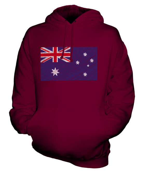 AUSTRALIA SCRIBBLE FLAG UNISEX HOODIE TOP GIFT AUSTRALIAN FOOTBALL