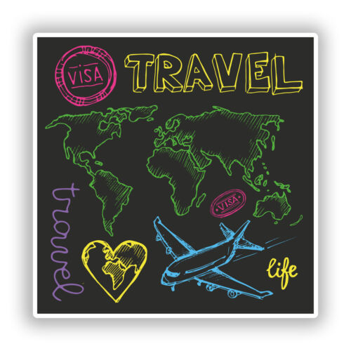 2 x Travel Vinyl Stickers Travel Luggage #10146