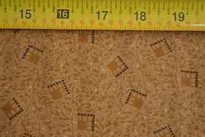 By-1-2-Yd-Browns-on-Gold-Quilting-Cotton-034-Bridgeport-034-Andover-Jo-Morton-B05