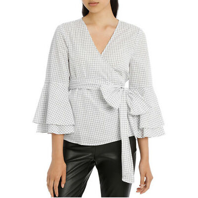 NEW Tokito Wrap Shirt with Tiered Sleeves - Grid Blk/White