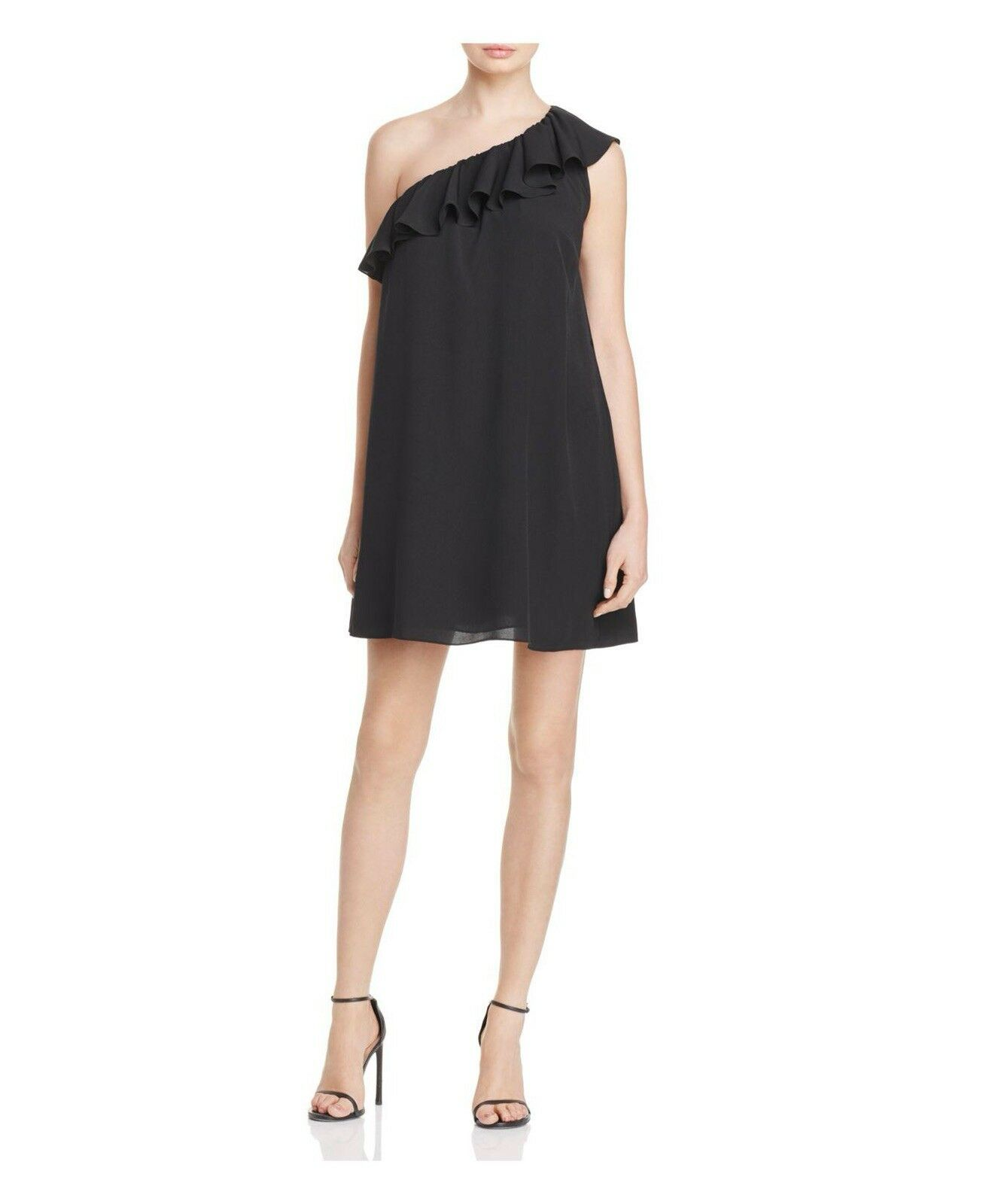 NWT French Connection One Shoulder Polly Plains Shift schwarz Dress Small Ruffle