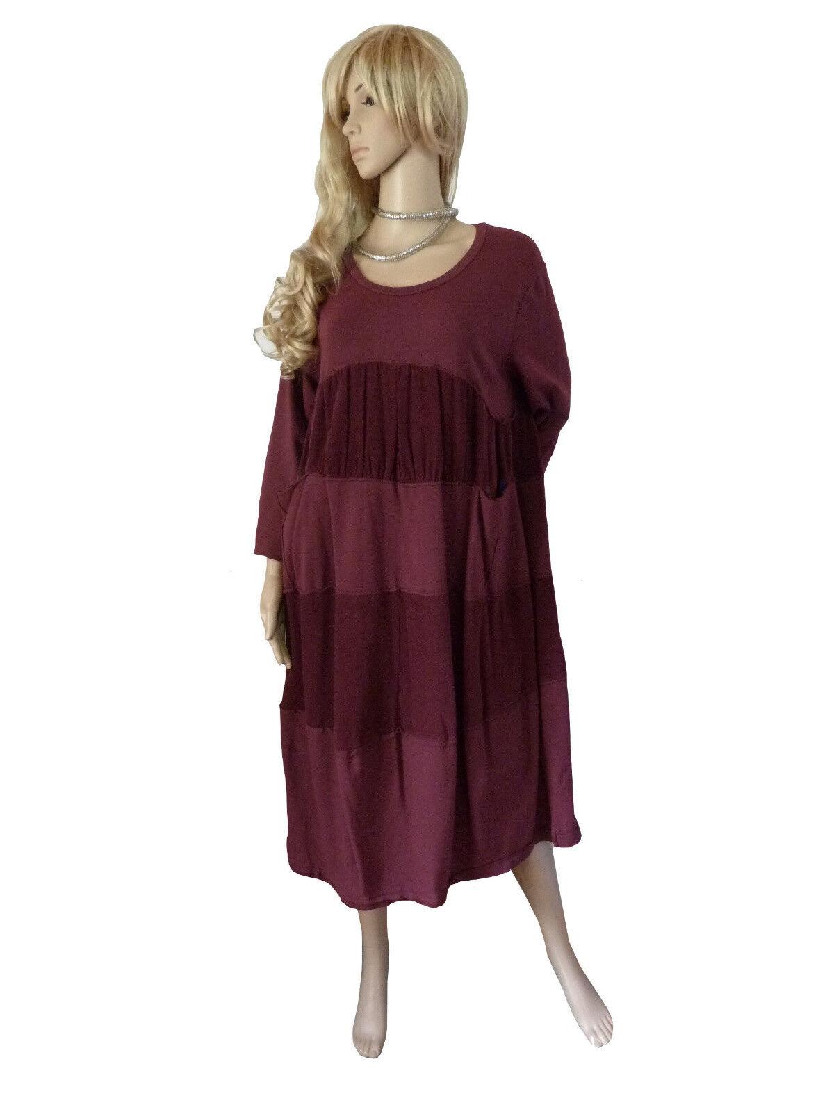 EG 46 48 50  gemütliches Kleid Baumwollkleid Weinrot Feincord LAGENLOOK  Italien