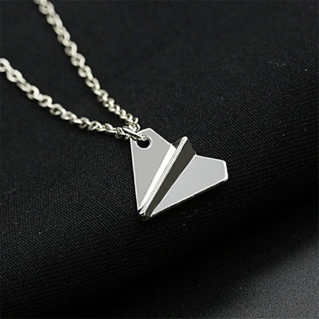 Color Origami Aircraft Shape Paper Airplane Pendant Clavicle Chain Necklace