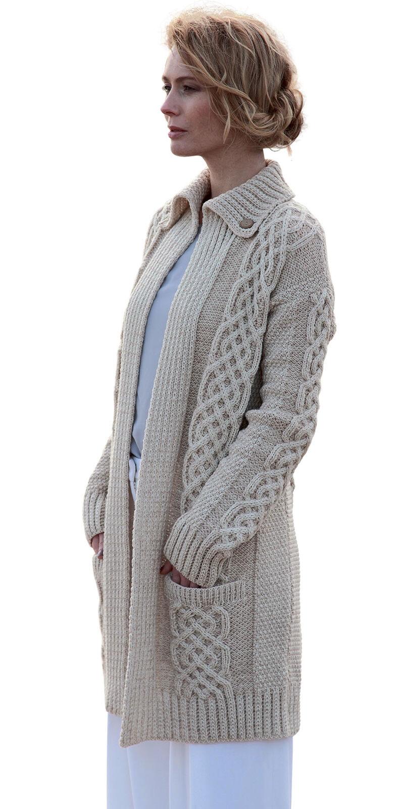 Women Wool Cardigan Plaited Coat Merino Wool Aran stitched long Sweater
