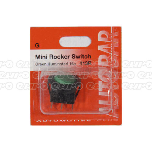 Autobar 413R Universal Toggle Mini Rocker Switch Green Electrical Replacement
