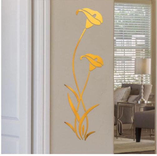 3d diy gold flower shape acrylic wall sticker modern stickers
